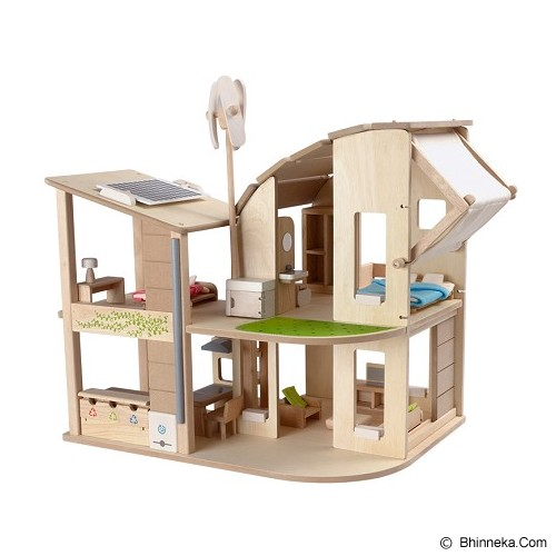 PLAN TOYS Green Dollhouse With Furniture [PT7156] - Mainan Simulasi