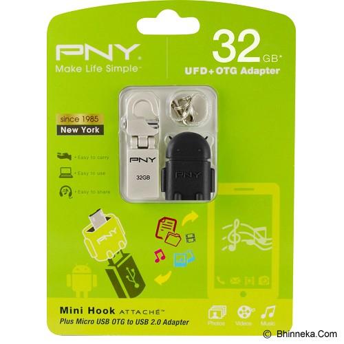 PNY Mini Hook Attache 32GB with OTG A2 Black Adapter - Usb Flash Disk Dual Drive / Otg
