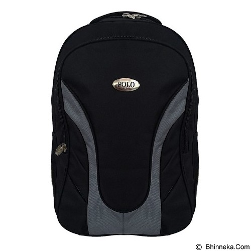 POLO USA Sparta Laptop Backpack + Rain Cover - Black Grey (Merchant) - Notebook Backpack