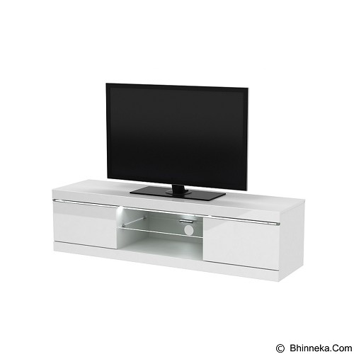 PRISSILIA Delacroix TV Rack - White Gloss (Merchant) - Rak & Meja TV