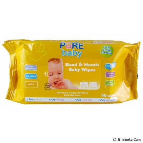 PURE BABY Hand & Mouth Wipes Orange Oil 60's - Baby Wipe / Tissue Basah
