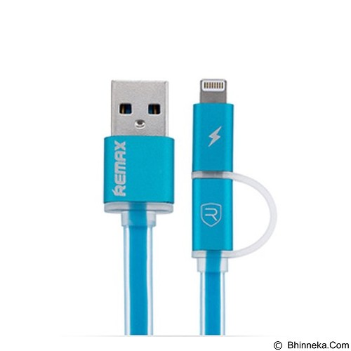 REMAX Aurora Cable Micro USB + iPhone 1M - Blue (Merchant) - Cable / Connector Usb