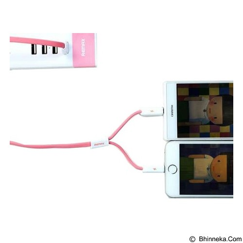 REMAX Cable Data Binary at The Same Time 2 in 1 Magnet - Pink (Merchant) - Cable / Connector Usb