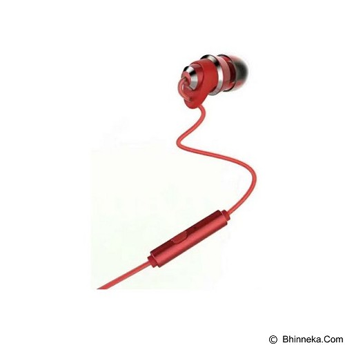 REMAX Metal Touching Earphone [RM-585] - Red (Merchant) - Car Kit / Charger