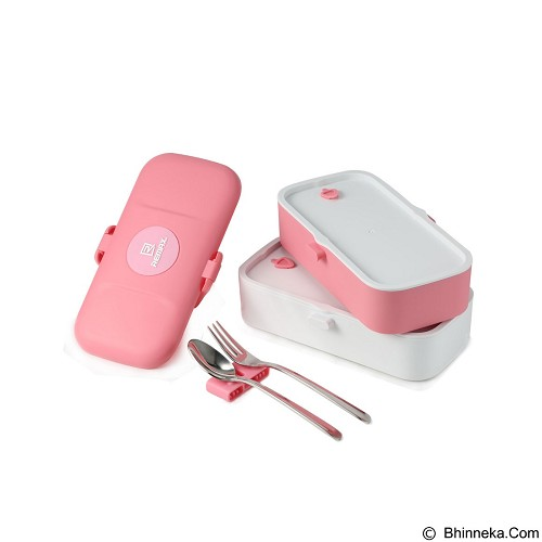 REMAX Original Lunch Box Two Layers with Cutlery [RT-BT01] - Pink (Merchant) - Lunch Box / Kotak Makan / Rantang
