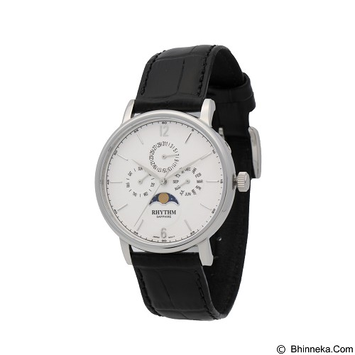 RHYTHM Jam Tangan Pria Leather [FI1608L 01] - Black White (Merchant) - Jam Tangan Pria Casual