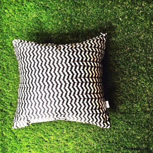 SADE.INDONESIA Cushion Cover - Black Wavy White - Sarung Bantal