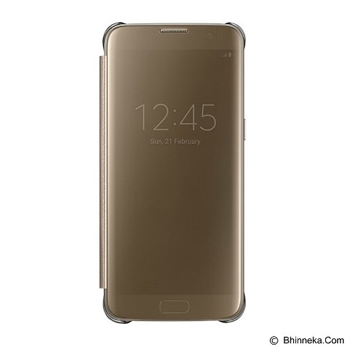 SAMSUNG Clear S-View Flip Cover Case for Galaxy S7 Edge - Gold - Casing Handphone / Case