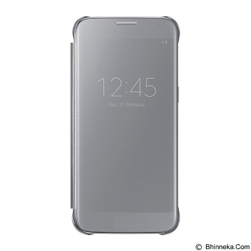 SAMSUNG Clear S-View Flip Cover Case for Galaxy S7 - Silver - Casing Handphone / Case