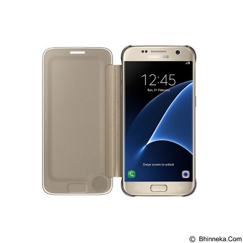 SAMSUNG Clear View Cover for Galaxy S7 Flat - Gold (Merchant) - Casing Handphone / Case