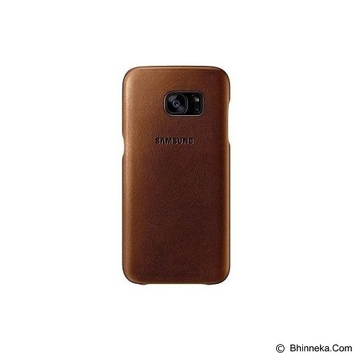 SAMSUNG Leather Back Cover for Galaxy S7 Flat [EF-VG930LUEGWW] - Brown - Casing Handphone / Case