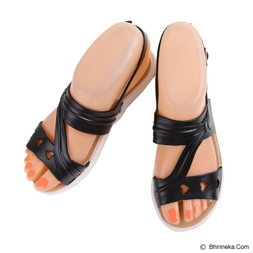 SENDAL UNIK MURAH Flat Jelly Triple Love Shoes Size 36 - Black - Sandal Casual Wanita
