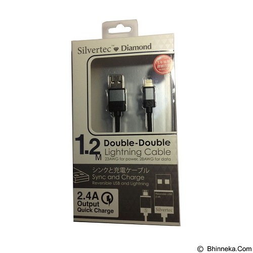 SILVERTEC Double Double Lightning USB Cable 1.2m - Black (Merchant) - Cable / Connector USB