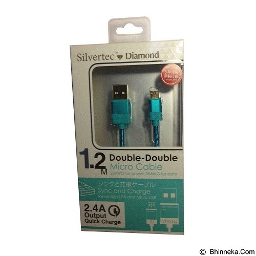 SILVERTEC Double Double Micro USB Cable 1.2m - Green (Merchant) - Cable / Connector Usb