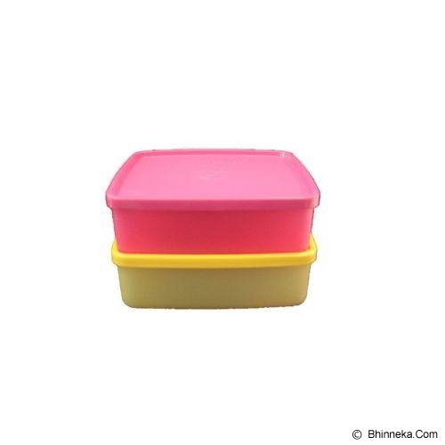 TUPPERWARE Large Square Away 2pcs - Yellow & Pink - Wadah Makanan
