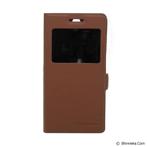 EXCELLENCE Leather Case Flip Shell View Sony Xperia M [ALCSEXPMFSVE] - Brown Mirror - Casing Handphone / Case