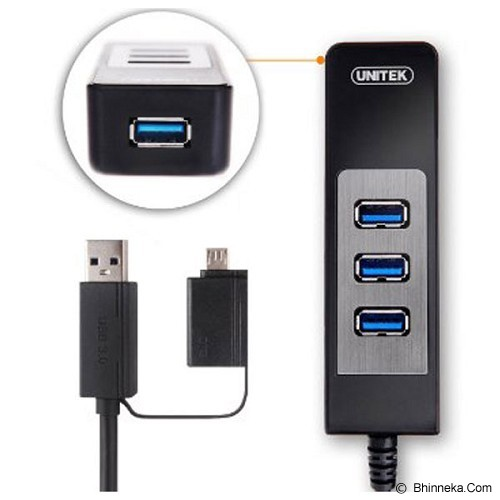 UNITEK USB 3.0 4 Port Hub + OTG Adaptor 0.3M [Y-3046A] - Cable / Connector Usb