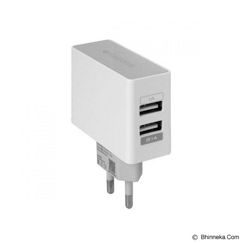 WELLCOMM Dual USB Travel Charger 2.1A - White - Charger Handphone