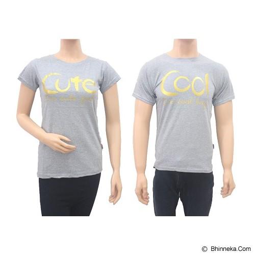 DOO FU Couple T-Shirt Cute & Cool - Grey (V) - Kaos Wanita