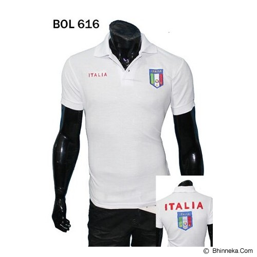 GUDANG FASHION New Collection Kaos Kerah Bola Italia [BOL 616] - Putih - Polo Pria