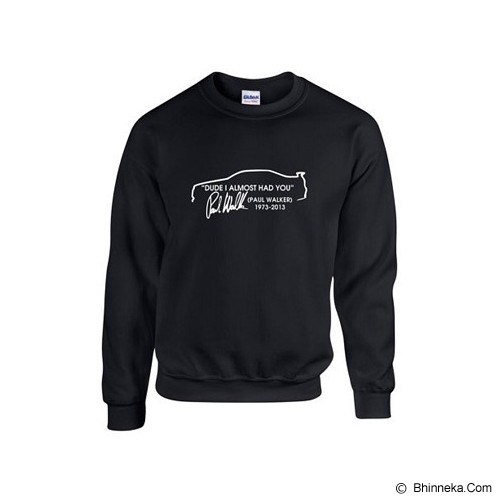 JERSICLOTHING Unisex Sweater Paul Walker Velvet/Flock Print Size XL - Black - Sweater / Cardigan Pria