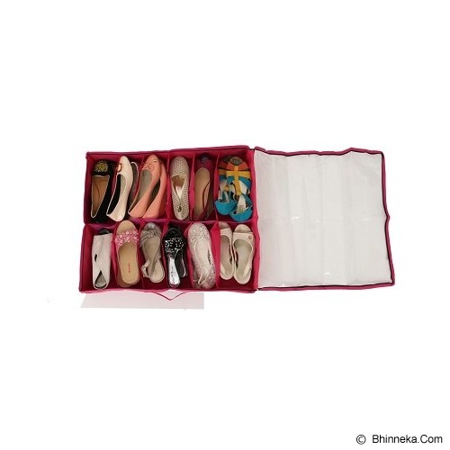 RADYSA Shoe Case Organizer 12 Partition - Red - Rak Sepatu