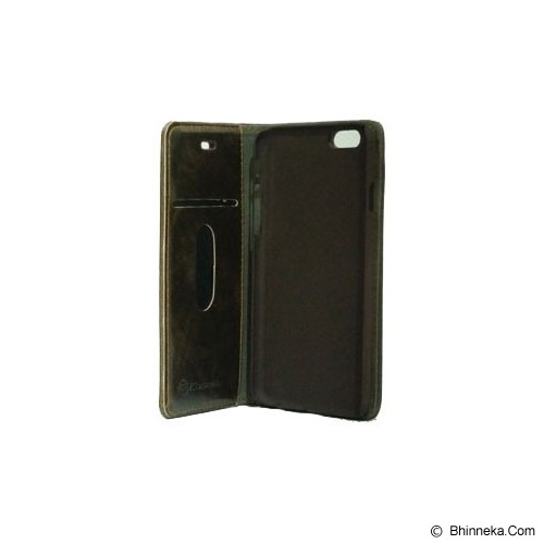 BERZET Leather Wallet Case for iPhone 6 - Brown - Casing Handphone / Case