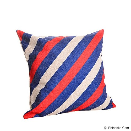 OLC Bantal Sofa Motif Blue Red Line [Q863] - Bantal Dekorasi