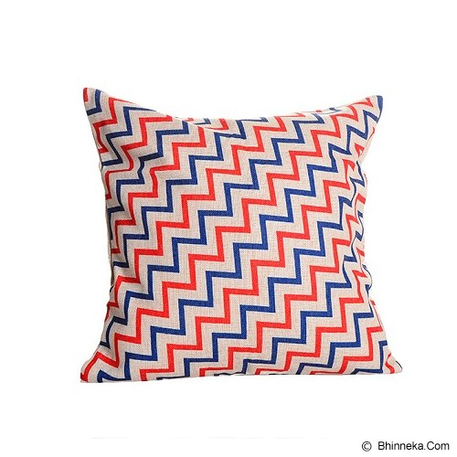 OLC Bantal Sofa Motif Small Zig Zag [Q866] - Blue/Red - Bantal Dekorasi