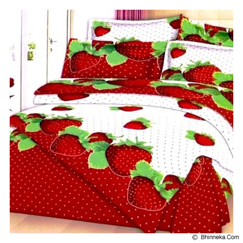 ELLENOV SPREI BAHAN KATUN Red Strawberry Small Single Size - Seprai & Handuk