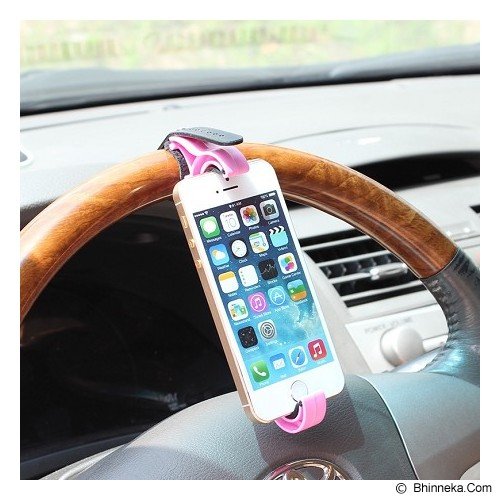 POP HOME Car Steering Wheel HP Holder [B270] - Pink - Gadget Mounting / Bracket