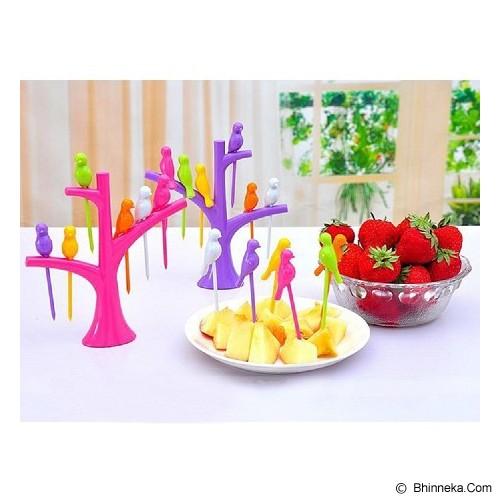 POP HOME Colorful Birdie Fruit Fork [B265] - Purple - Garpu Makan