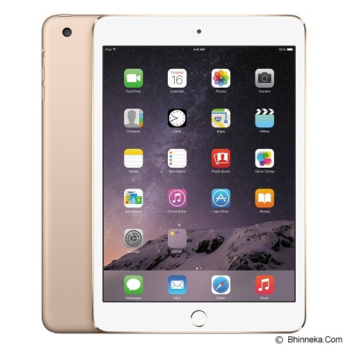 APPLE iPad Mini 3 Retina Display Wifi + Cellular 128GB (Garansi Merchant) - Gold - Tablet Ios