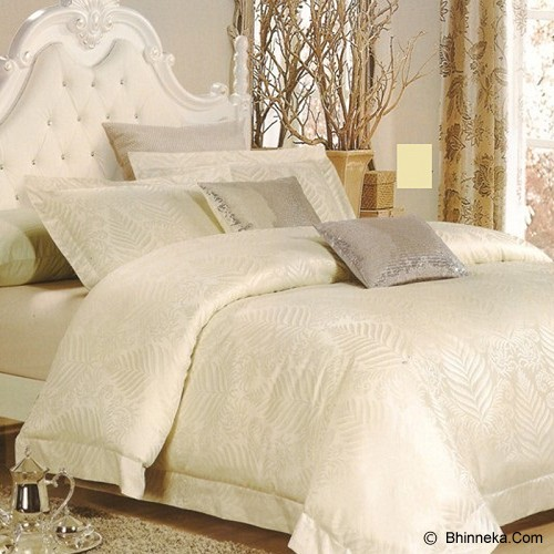 SLEEP BUDDY Extra King Size Bed Sheet Sutra - Leaf Off White - Kasur