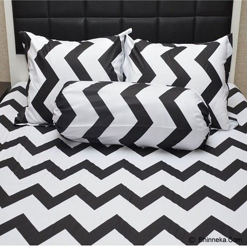 SLEEP BUDDY Queen Size Bed Sheet Katun Chevron - Black - Kasur
