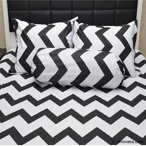 SLEEP BUDDY Queen Size Bed Sheet Katun Chevron - Black - Kasur