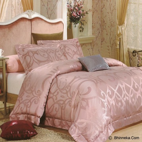 SLEEP BUDDY Queen Size Bed Sheet Sutra Tencel - Ulir Pink - Kasur