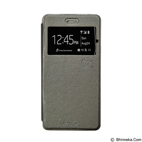 SMILE Flip Cover Case Andromax E2 - Grey (Merchant) - Casing Handphone / Case