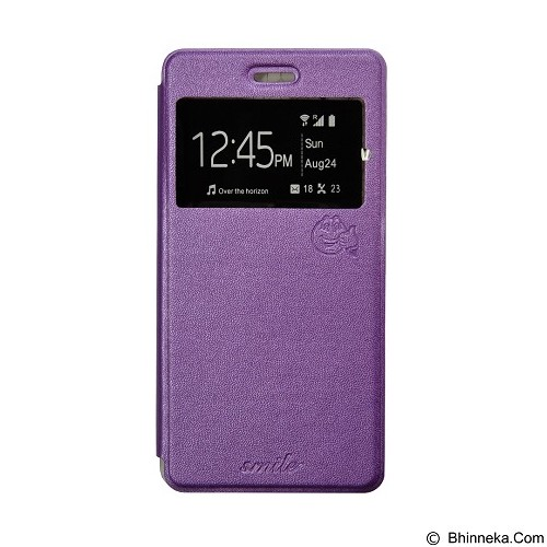 SMILE Flip Cover Case Samsung Galaxy Note 4 - Purple (Merchant) - Casing Handphone / Case