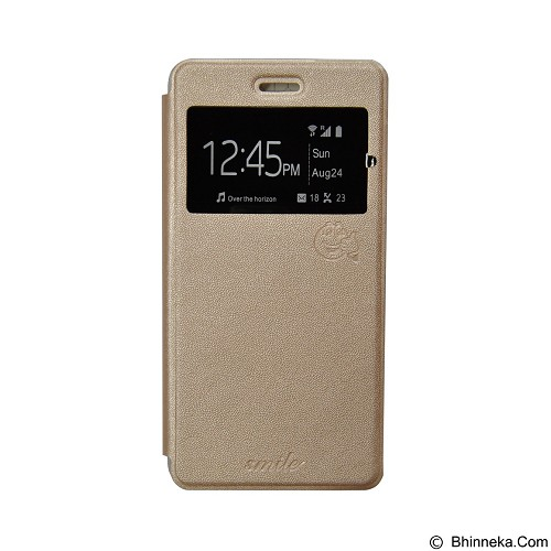 SMILE Flip Cover Case Sony Xperia E4 - Gold (Merchant) - Casing Handphone / Case