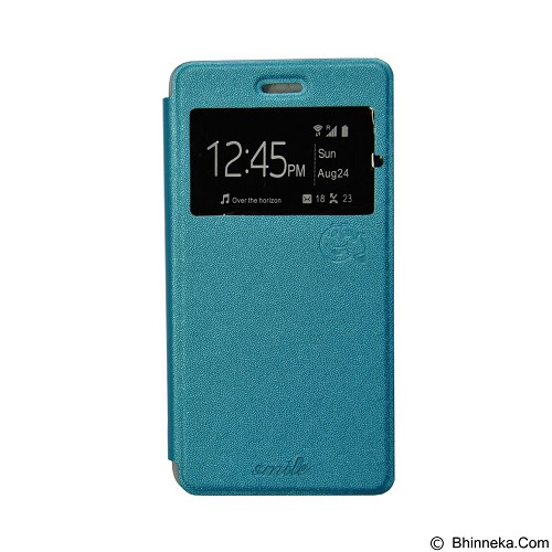 SMILE Flip Cover Case Xiaomi Redmi Note 2 - Light Blue (Merchant) - Casing Handphone / Case