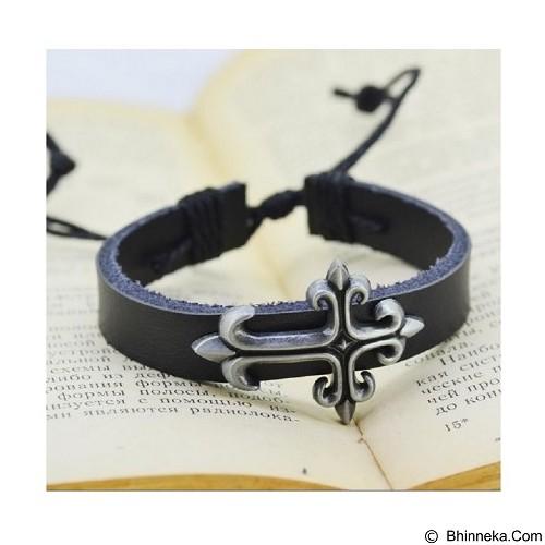 SOHO Gelang Kulit Salib [P0509] - Black (Merchant) - Gelang / Bracelet