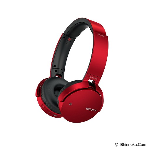 SONY Extra Bass Headphone Wireless [MDR-XB650BT] - Red - Headset Bluetooth