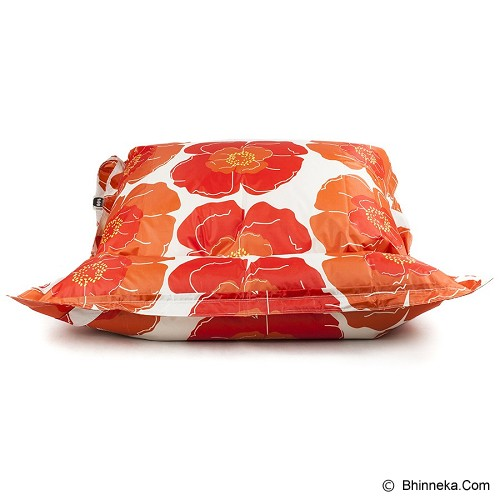 SOO SANTAI Big Mama Strap Beanbag - Flower Orange White - Bantal Duduk / Bean Bag