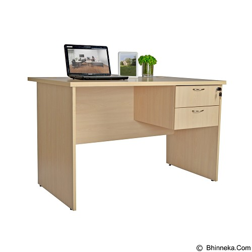 SPAZIO Single Desk 2 Drawer [SPZ-WT-1200 2DR] - Ivory Maple - Meja Kantor