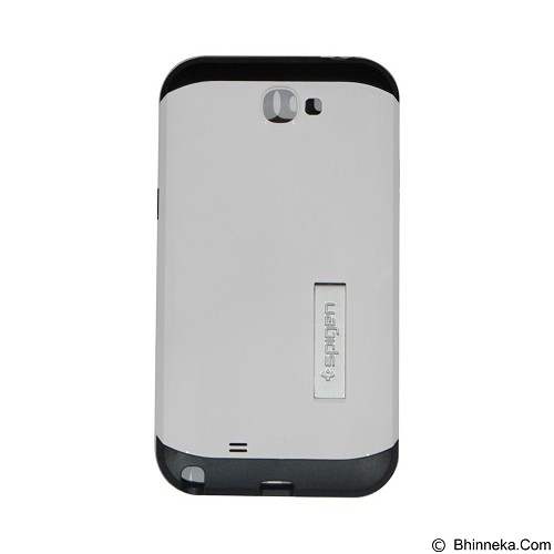 SPIGEN Slim Armor Leather/Silicon/Metal With Kick Stand Samsung Galaxy Note 2 N7100 - White (Merchant) - Casing Handphone / Case