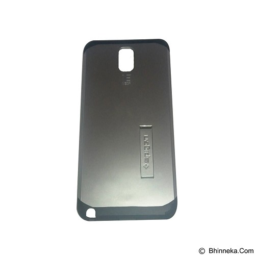 SPIGEN Slim Armor Leather/Silicon/Metal With Kick Stand Samsung Galaxy Note 3 N9000 - Silver (Merchant) - Casing Handphone / Case