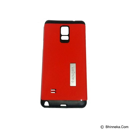 SPIGEN Slim Armor Leather/Silicon/Metal With Kick Stand Samsung Galaxy Note 4 N910 - Red (Merchant) - Casing Handphone / Case