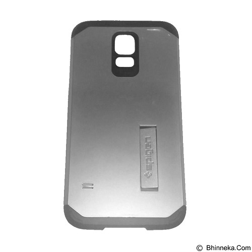 SPIGEN Slim Armor Leather/Silicon/Metal With Kick Stand Samsung Galaxy S5 - Silver (Merchant) - Casing Handphone / Case