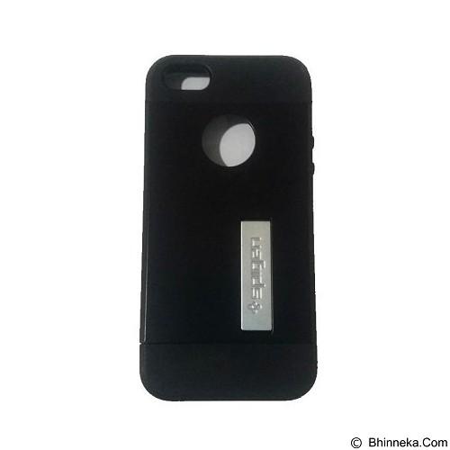 SPIGEN Slim Armor Leather/Silicon/Metal with Kick Stand iPhone 6/6S/6 4.7 Inch - Black (Merchant) - Casing Handphone / Case